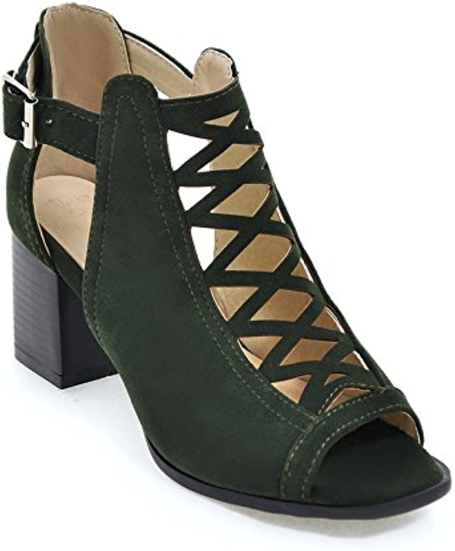 Women's sandals Sandalias de Tacón Alto para Mujer con Diamantes Negros y Huecos, Talla Grande, EU38/UK5-5.5 -