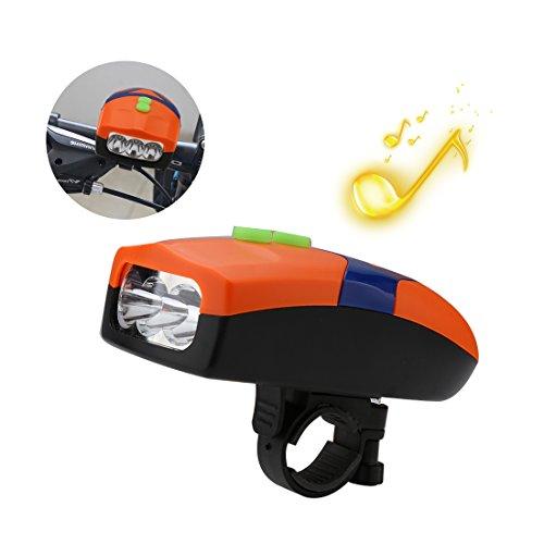 A-szcxtop Fahrradlampe mit 3Licht Modi und 4Arten von Alarm Sound Wasserdichte Struktur Design für Night Riding, orange