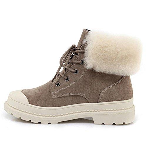 Donna breve stivali metallo catena piatta in pelle casual confortevole elastico alla caviglia scarpe, GREEN-34 KHAKI-38