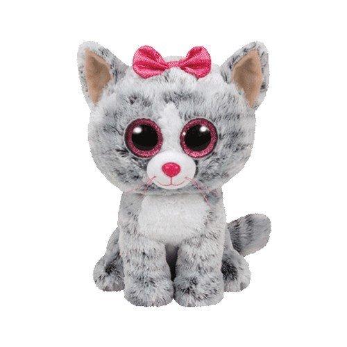 Carletto Ty 37075 - Kiki, Katze mit Glitzeraugen, Glubschis, Beanie Boos, 24cm, Grau (Ein In Plüsch Bett Tasche)