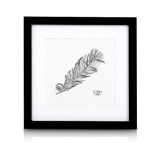 Quadratischer Bilderrahmen aus Echtholz - 25x25 cm mit Glasscheibe - Schwarz - Mit Passepartout 18x18 cm - Rahmenbreite 2cm!
