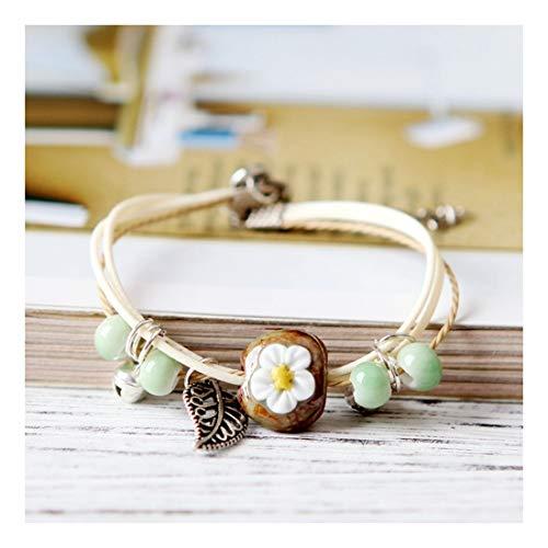 YIYIYYA Ladies'Bracelets Hand-Woven Ceramics Cute and Sweet Animal Flowers Adjustable Girls' Jewelry Ladies'Jewelry Gifts,02 Womens Mixed Metal