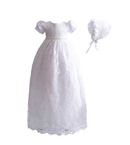 Cinda Baby-Mädchen-Spitze-langes Taufkleid mit MützeWeiß 62-68