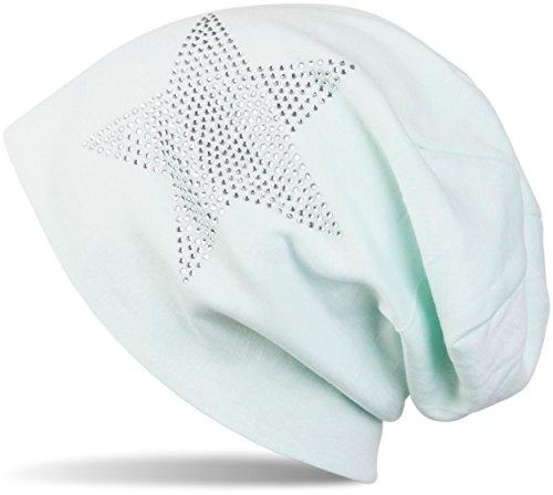 styleBREAKER warme klassische Unisex Beanie Mütze mit Stern Strass Applikation 04024023, Farbe:Mint hell (Mint Grün Beanie)
