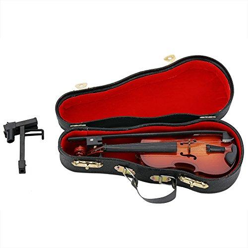 Violino in legno in miniatura, mini dollhouse musical instrument modello decor, modello decor con arco, supporto supporto e custodia nera per bambini