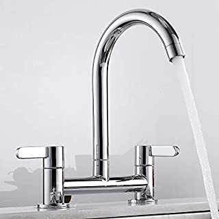 Kitchen Sink Mixer Taps Lever Chrome 1/4 Turn Easy Use 2 Hole Deck Mounted