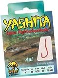 Behr Yashita gebundene Aalhaken - Haken extrem scharf -Vorfachlänge 60 cm, verschiedene Stärken und Größen - rot, Hakengröße 4 - Vorfachstärke 0,30 mm