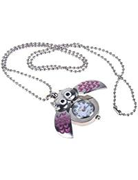 SODIAL(R) Lindo mini buho collar reloj de bolsillo - plata y rosa