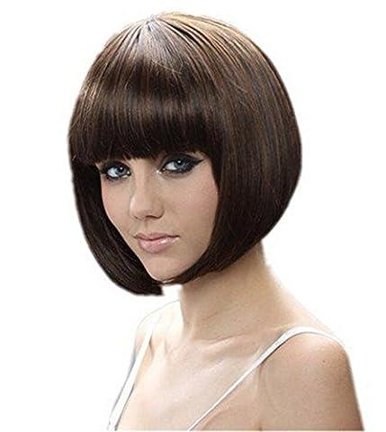 coo2day ® 20,3cm 30cm kurz Haar Perücke natürlich wie Echthaar Cosplay Perücken Ordentlich Pony Bob Perücken