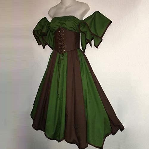 Mitlfuny Karnevalsparty Fancy Festival Zubehör,Damen Vintage Short Petal Sleeve Slash-Neck mittelalterlichen Kleid Cosplay Kleid