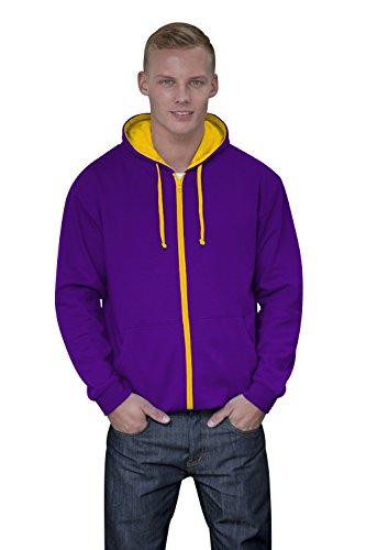 JH053 Varsity Zoodie Sweatjacke Sweatshirt Jacke S,Purple-Sun Yellow Purple Classic Hoody Sweatshirt