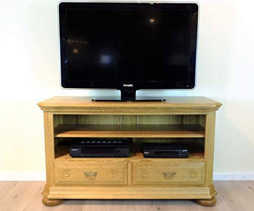 Legden TV Anrichte 120 cm/Fernsehanrichte/Lowboard in Eiche vollmassiv gelaugt mit Schnitzerei - klassisches TV Möbel Qualität 'Made in Germany' -