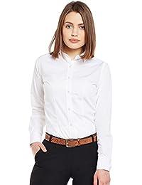 La MODE Women's Plain Regular Fit Shirt (M13728_White_36)