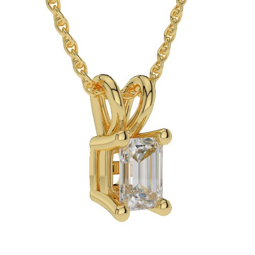 Or jaune 18 carats 0,20 CT G-H/VS sertie de diamants Forme Émeraude Solitaire Collier Agdnc-1003