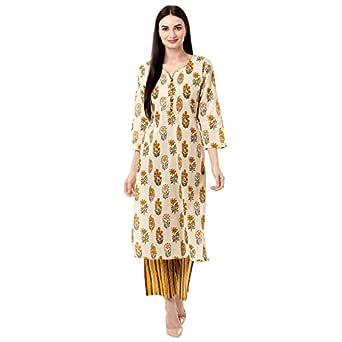 Gulmohar Jaipur Women's Cotton Printed Kurta Pant Set (Yellow)