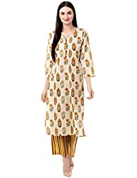 Gulmohar Jaipur Women's Cotton Printed Kurta Pant Set (Yellow)
