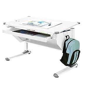 MSZ Design Kinderschreibtisch Schülerschreibtisch Variant weiß verstellbar mit Schublade und Wechselkappen in Grau und…