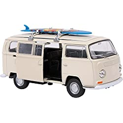 """Small Foot 9324 Voiture de collection VWBus T2 + Planche de surf"""", avec rétraction automatique, modèle et jouet, à partir de 6 ans"""