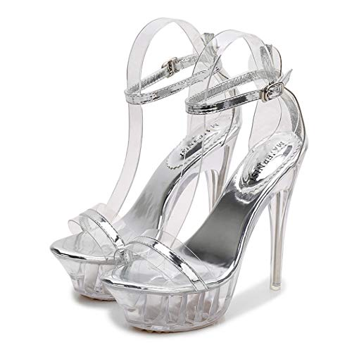CRBHSH Women es Lace Up Ankle Tie Block High Heel Sexy Crystal Transparent Super High-Heeled Platform Showcase Nightclub High-Heeled Sandals Women,Transparent,42 - Lace-up Ankle High Sandal