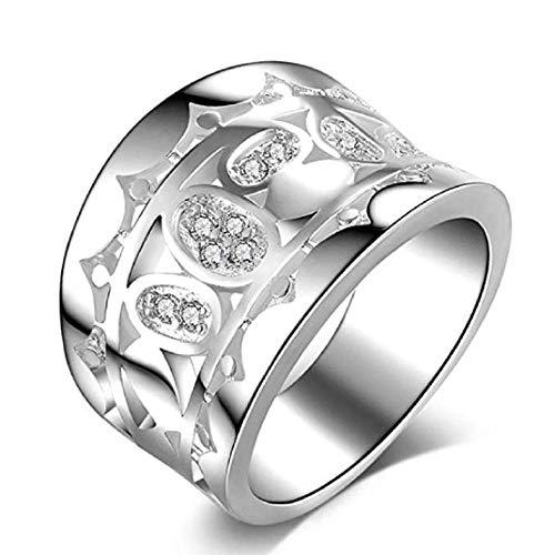 Hochwertige ICHQ luxuriöse breite Ringe, Sterling Silber Hip-Hop-Frauen verschlungenen Cross-Statement-Ringe 15mm breit Schmuck Geschenk (Silber, 7) (Ringe Prime Birthstone)