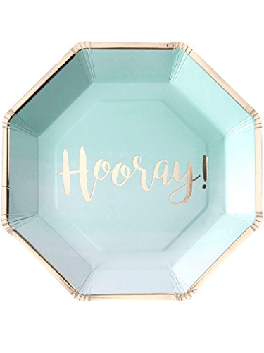 Pick and Mix - Mint & Gold Foiled Hooray Paper Plates -