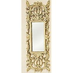 Home Collection - Muebles, decoración - espejo de pared cuadrangular con elementos decorativos - Estilo: Barroco - Color: dorado - H 71 cm