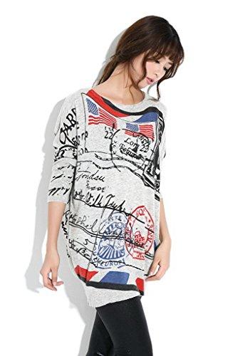 Bigood Sweat Imprimé Femme Pull Col Rond Sweat-shirt Manche Longue Hip-hop Casual Mode Gris #AE
