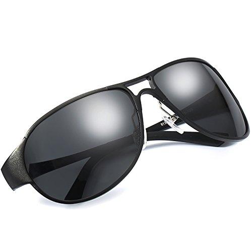 Pilotenbrille Sonnenbrille Herren, Polarisierte 100% UVA & UVB Schutz, Groß Schwarz Metallrahmens...