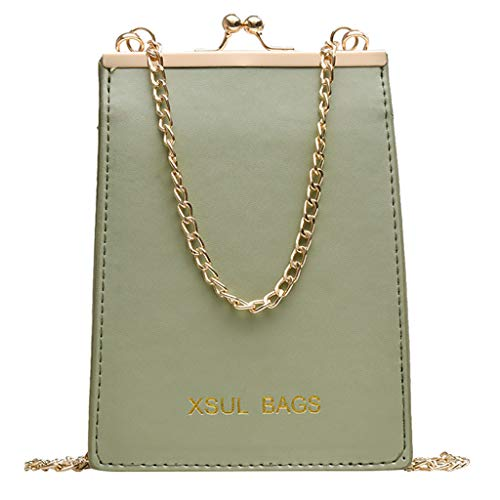 olltonfarbe Schnalle Umhängetasche Kette Diagonale Cross Bag Casual Handtasche Quadrat Stereo Tasche Geldbörse (Grün) ()