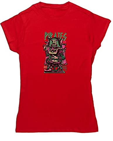 Hippowarehouse Pirates womens fitted short sleeve t-shirt