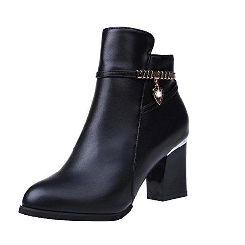 Longra Caricamenti del sistema di colore solido delle donne Caricamenti del sistema sottili della caviglia Stivali del Martin Nero