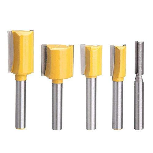 Lopbinte Set Von 5 Teiliges Gerades Dado Fraes Werkzeug Satz Hart Metall Fraeser, Schnitt Durchmesser 1/4 Zoll, 3/8 Zoll, 1/2 Zoll, 5/8 Zoll, 3/4 Zoll, 1/4 Zoll Schaft (Gelb) - Dado Kopf