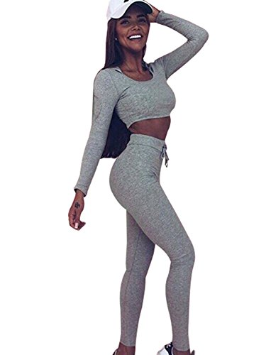 Minetom Damen 2 Stücke Set Outfit Sport Yoga Fitness Bodycon Slim Jogginganzug U-Ausschnitt Langarmhemd Jumpsuit Crop Top + Leggings Grau DE 34
