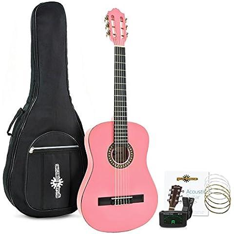 Guitarra Española Deluxe Junior 1/2 Rosa de Gear4music + Accesorios