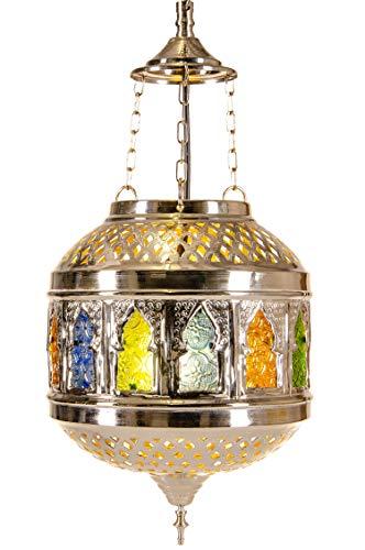 Orientalische Messing Lampe Pendelleuchte Silber Kaynat 50cm E27 Lampenfassung   Marokkanische Design Hängeleuchte Leuchte   Orient Lampen für Wohnzimmer, Küche oder Hängend über den Esstisch