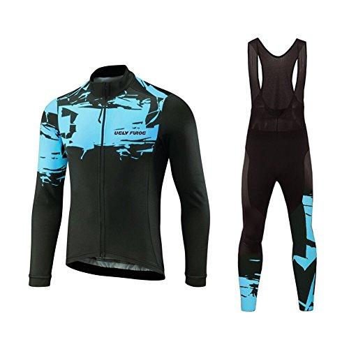 Uglyfrog Herren Fahrradbekleidung Langarm Radtrikot Set Outdoor Radsport Gemütlich Radkleidung Trikot Jersey + Lange Radlerhose im Herbst