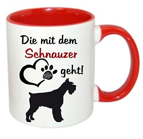 crealuxe Die mit dem Schnauzer geht - Kaffeetasse mit Motiv, bedruckte Tasse mit Sprüchen oder Bildern (rot)