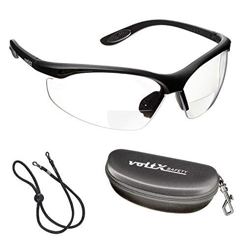 voltX 'Constructor' BIFOKALE Schutzbrille mit Lesehilfe (KLAR 1.5 Dioptrie) CE EN166F Zertifiziert/Sportbrille für Radler enthält Sicherheitsband Sicherheitsetui mit steifem Clamshell Verschluss