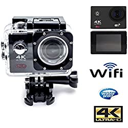 Camara deportiva Ultra HD WIFI, salida 4K pantalla 2.0 pulgadas, HDMI, visión 170º + kit componentes.