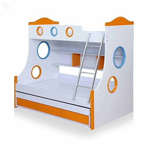 Royal Oak Remo Double Size Bunk Bed (White and Orange)