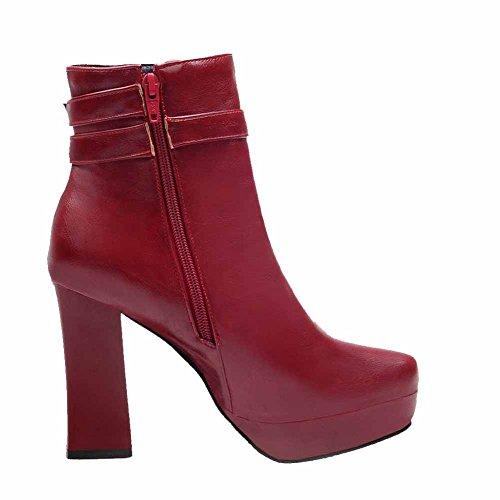 ... AllhqFashion Damen Hoher Absatz Anhänger Rund Zehe Pu Leder  Reißverschluss Stiefel Rot ...