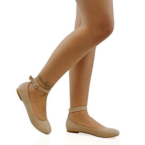 ESSEX GLAM Damen Kunstleder Flache Knöchelriemen Schuhbander Pumps Schnalle Ballerina Schuhe Hautfarbe Wildlederimitat