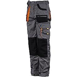 Stenso des-Emerton® - Pantalon de Travail/Cargo pour Homme - Gris/Noir/Orange - 50
