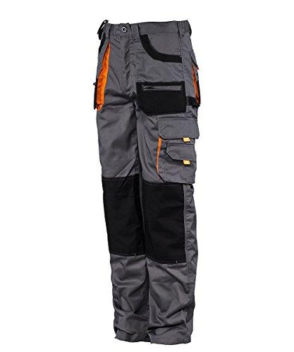 Stenso des-Emerton® - Pantaloni da Lavoro - Uomo - Grigio/Nero/Arancione - 56