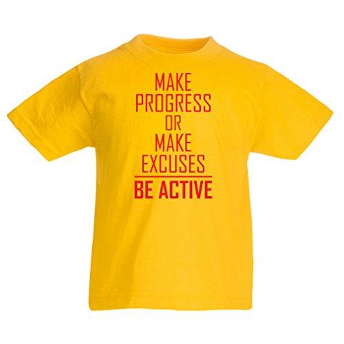 """Kinder T-Shirt \""""Be Active - Leben ohne Ausreden\"""" - Motivation - inspirierend tägliche Angebote für Erfolg (9-11 Years Gelb Rote)"""