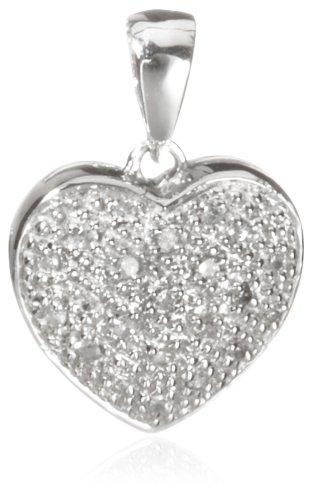 Carissima-Bracciale con diamanti 0,10 kt, in oro bianco 9 kt con pendente a forma di cuore