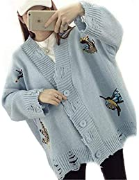 440a8e58aea7e8 BIRAN-55 Strickjacke Elegant Damen Mode Cardigan Herbst Embroidery Vogel  Zerrissen Einreihig Schöne Langarm V-Ausschnitt Locker…