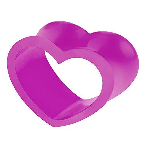 Piercingfaktor Flesh Tunnel Ohr Piercing Plug Ohrpiercing Silikon Motiv Form Herz Double Flared Lila 10mm