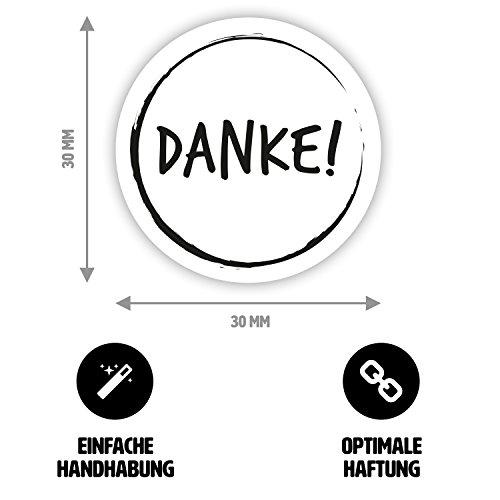 50 x Moderner Danke-Aufkleber / Dankeschön-Sticker für Geschenke, Beutel und Umschläge (schwarz / weiß, rund, Ø 3cm) (Münze Umschläge 2x2)
