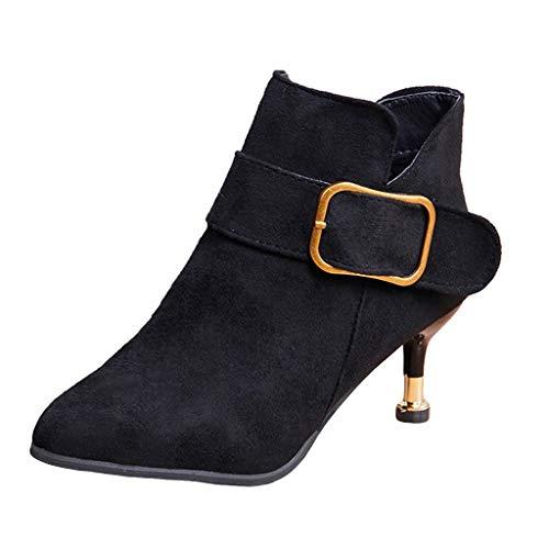 Fannyfuny Damen Pumps Frauen Herbst Und Winter Pointed Toe Stiefel High Heels Booties Martin Stiefel mit Reißverschluss mit schnallen Schwarz Braun 35-40